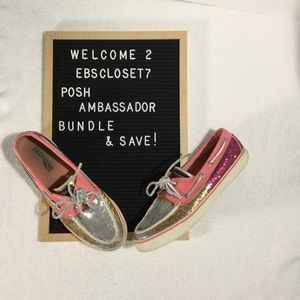 Sperry Pink Ombre Sequin Glitter Loafer Shoes